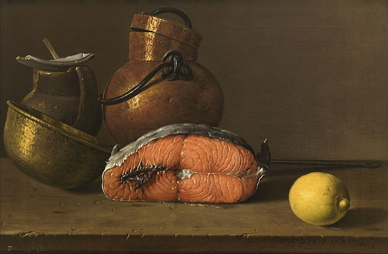 Luis_Melendez,_Still_Life_with_Salmon,Lemon_and_three_Vessels,1772_Museo_del_Prado_Madrid